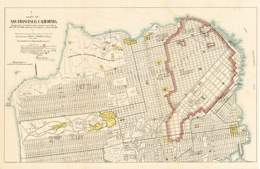 1906 Map of San Francisco, California. Showing limits of  the Burned Area destroyed by the Fire of April 18th-21st, 1906, following the Earthquake of April 18th, 1906.