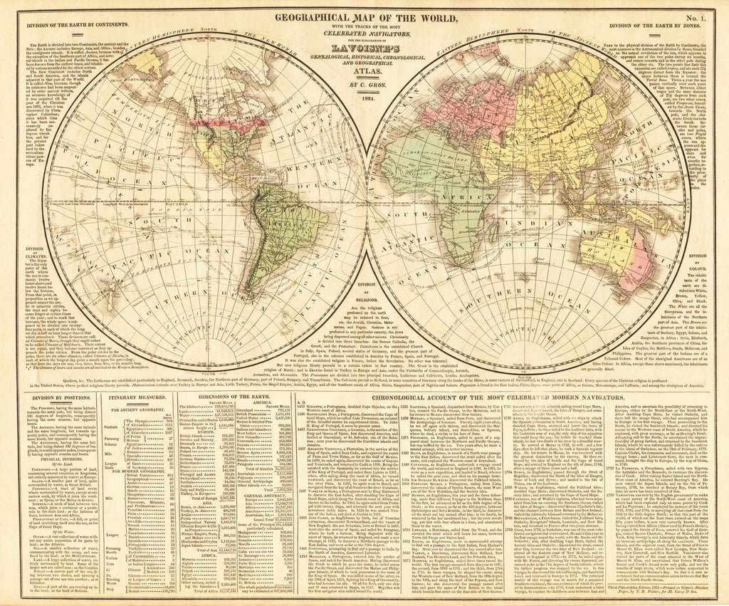 Map Of The World By Lavoisne 1821 Hjbmaps Com Hjbmaps Com