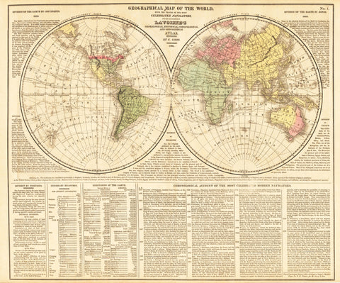 1821 GEOGRAPHICAL MAP OF THE WORLD, with the traces of the most Celebrated Navigators, for the Elucidation of Lavoisne's Genealogical, Historical, Chronological, and Geographical Atlas.