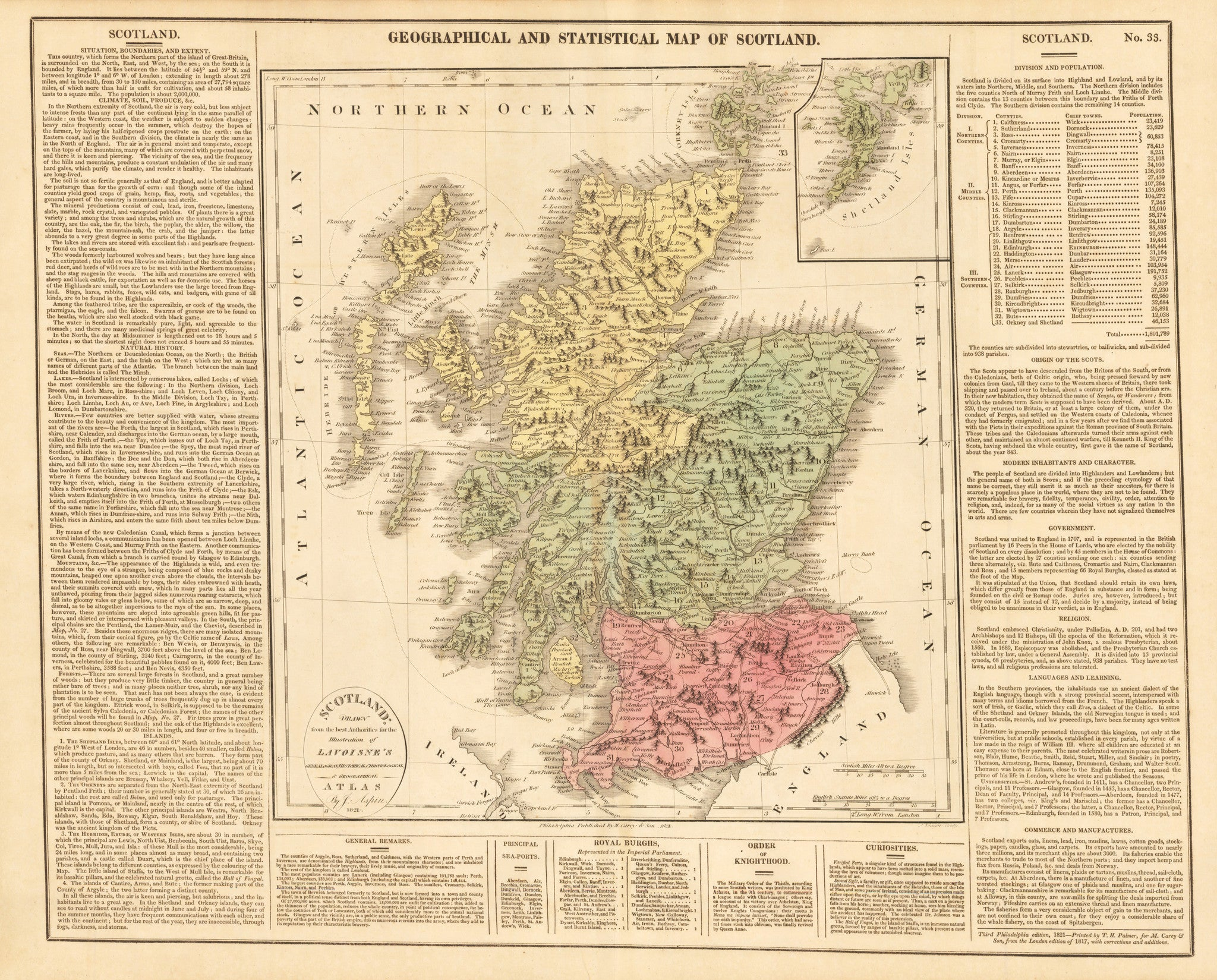 1821 Geographical and Historical Map of Scotland. Scotland: Drawn from the Best Authorities for the Illustration of Lavoisne's Genealogical, Historical, Chronological & Geographical ATLAS.