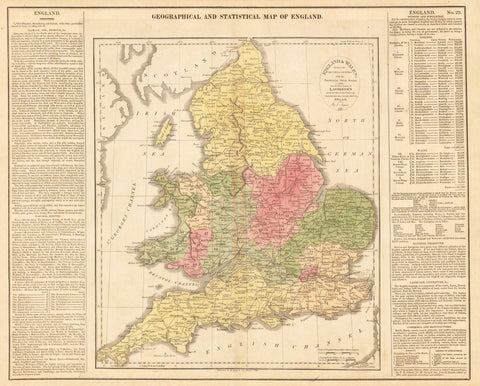 1821 GEOGRAPHICAL AND STATISTICAL MAP OF ENGLAND