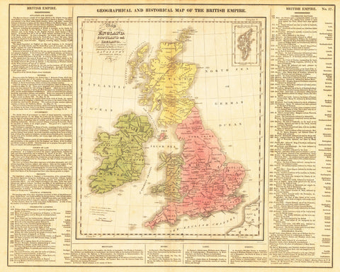 1821 Geographical and Historical Map of the British Empire