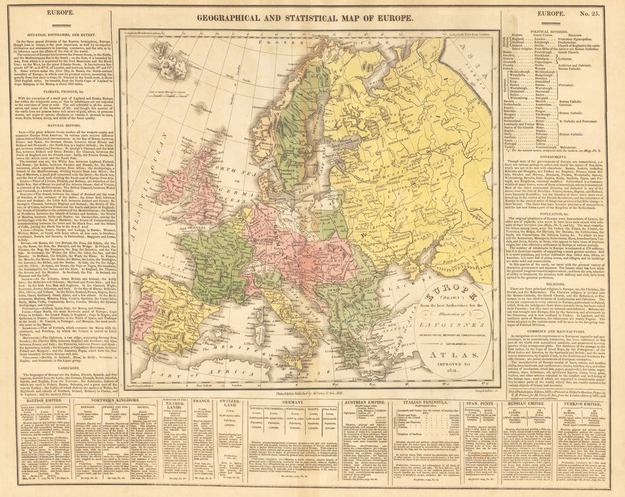 1821 GEOGRAPHICAL AND STATISTICAL MAP OF EUROPE...