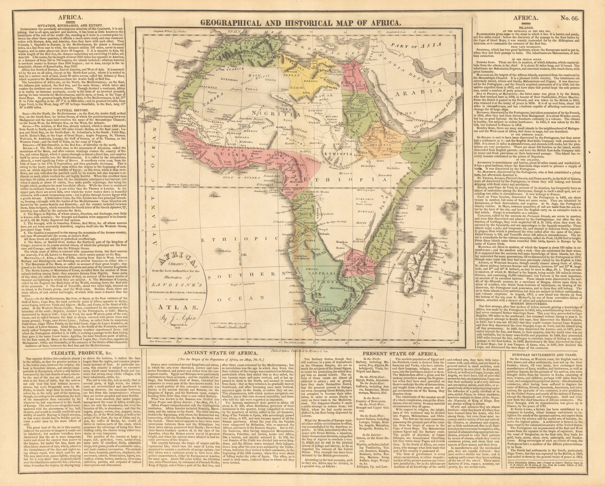 1821 Geographical and Historical Map of Africa