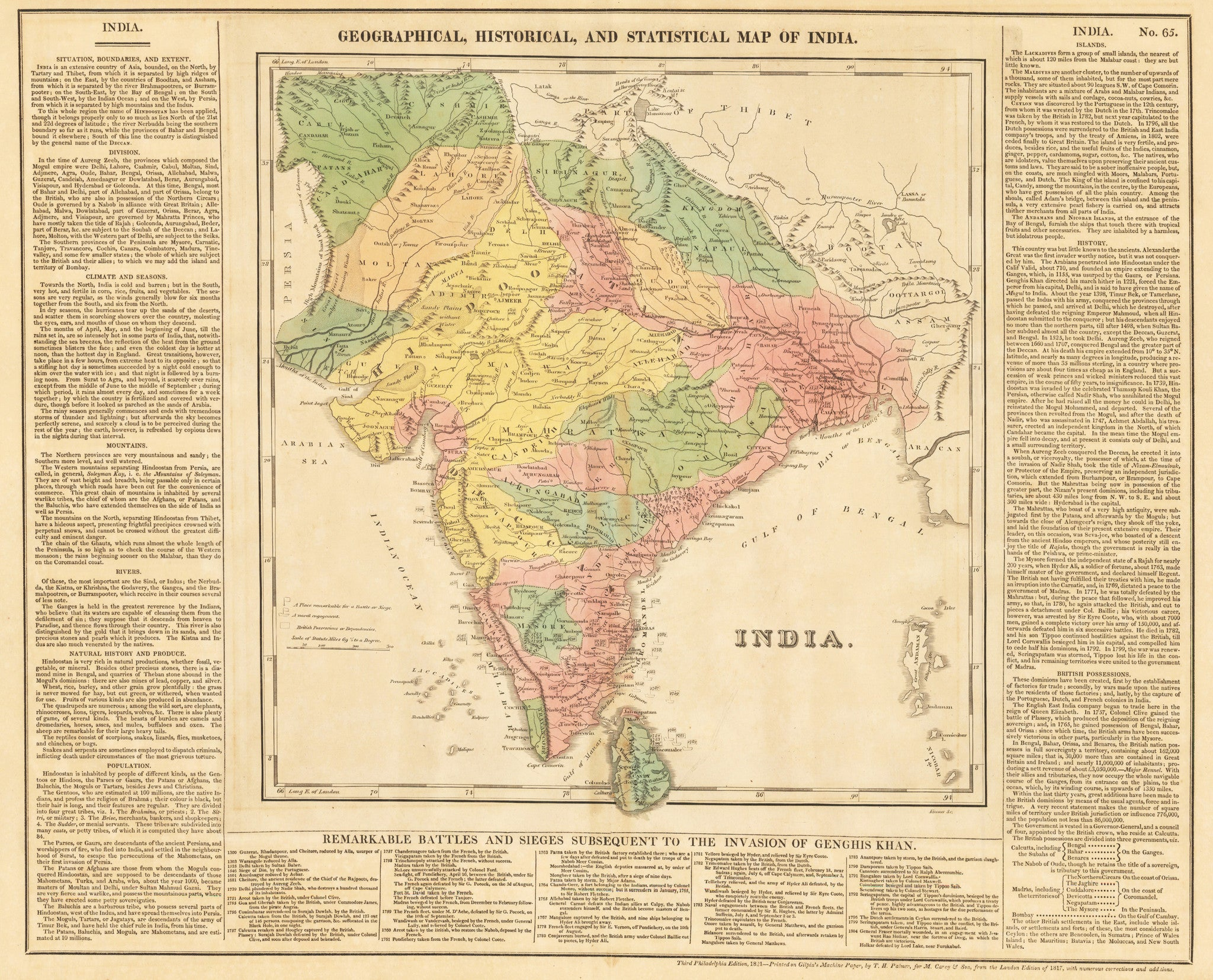 1821 Geographical, Historical, and Statistical Map of India