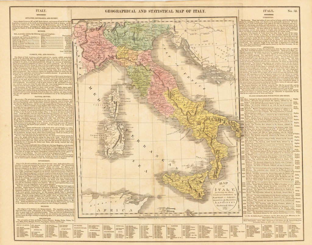 GEOGRAPHICAL AND STATISTICAL MAP OF ITALY By: Lavoisne Date: 1821 (Published) Philadelphia Size: 16.25 x 20 inches : Antique, Vintage, Italy, Sicily, Sardinia