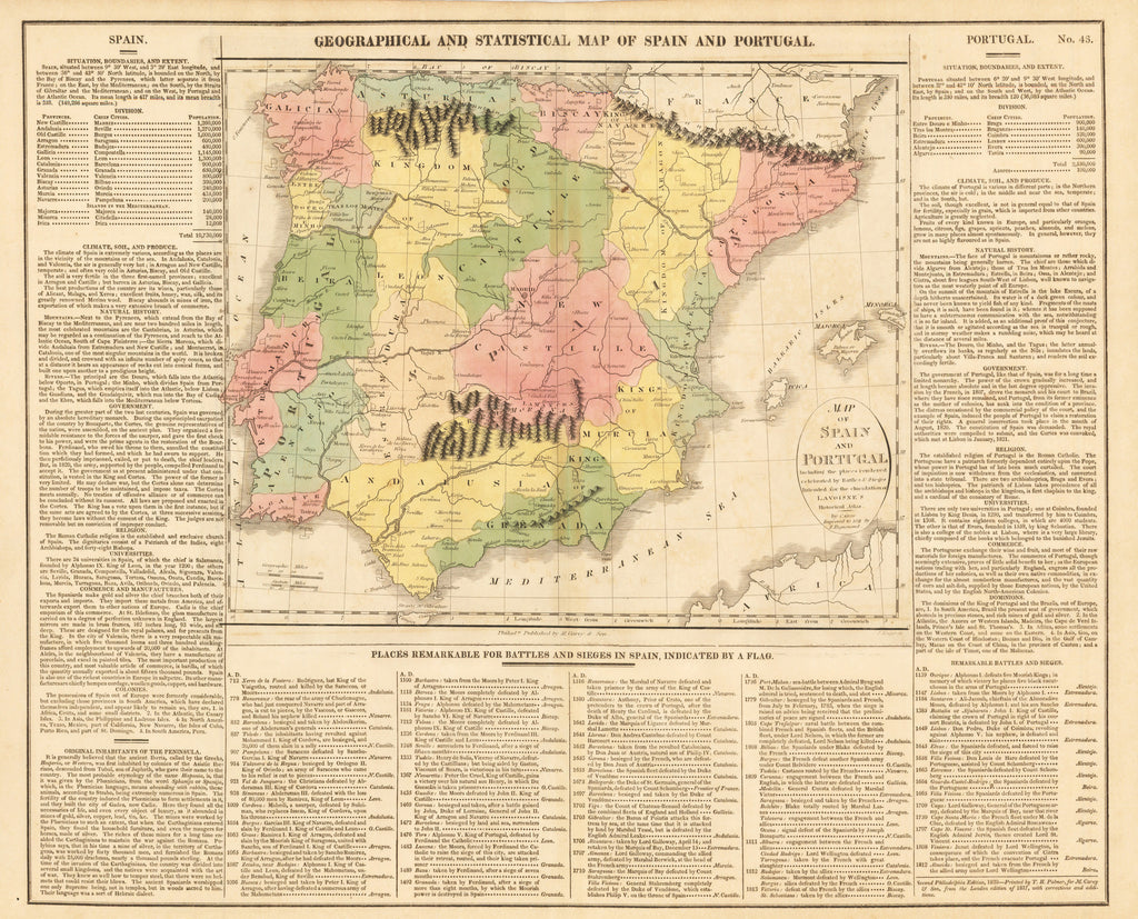 GEOGRAPHICAL/STATISTICAL MAP OF SPAIN AND PORTUGAL ... By: Gros, Lavoisne Date: 1821 (Published) Philadelphia Size: 16.5 x 20 in : Authentic, Spain, Portugal