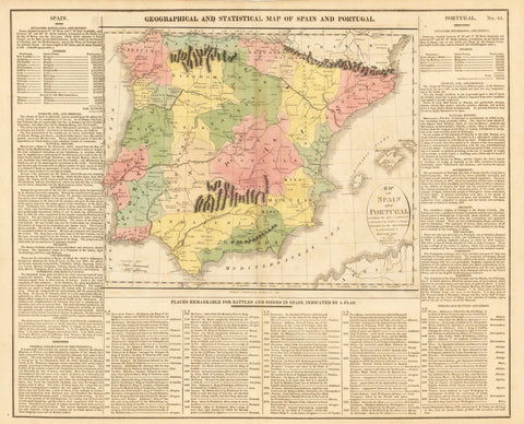 1821 GEOGRAPHICAL AND STATISTICAL MAP OF SPAIN AND PORTUGAL. Map of Spain and Portugal Including the places rendered celebrated by Battles & Sieges Intended for the Elucidation of Lavoisne's Historical Atlas.
