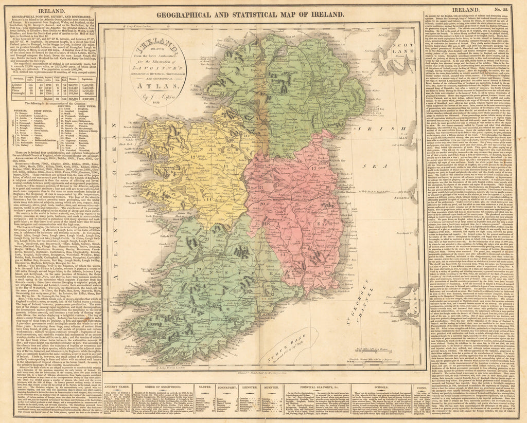 1821 GEOGRAPHICAL AND STATISTICAL MAP OF IRELAND. Drawn from the best  Authorities for the Illustration of Lavoisne\'s Genealogical Historical ...