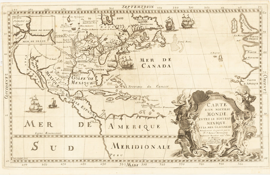 Carte D'un Nouveau Monde ... By: Louis Hennepin Date: 1683 (1698) (Published) Utrecht Size: 11.25 x 18.5 inches - Antique, Vintage, Rare, Map of North America