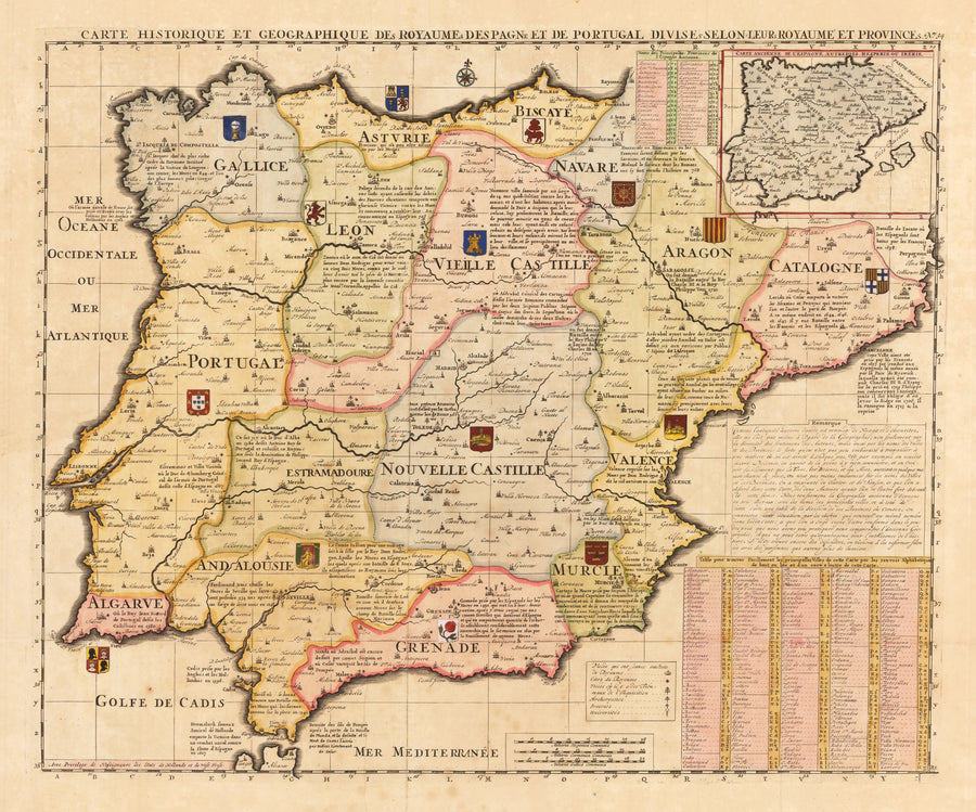 Carte ... des Royaumes Despagne et de Portugal ... By: Chatelain By: 1719 (Published) Amsterdam Size: 17.5 x 22.5 in - antique, map, spain, portugal, Chatelain