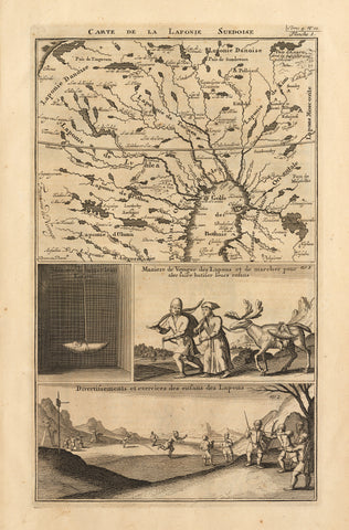 1710 Six Portfolio Pages Depicting Lapland, its People and Culture