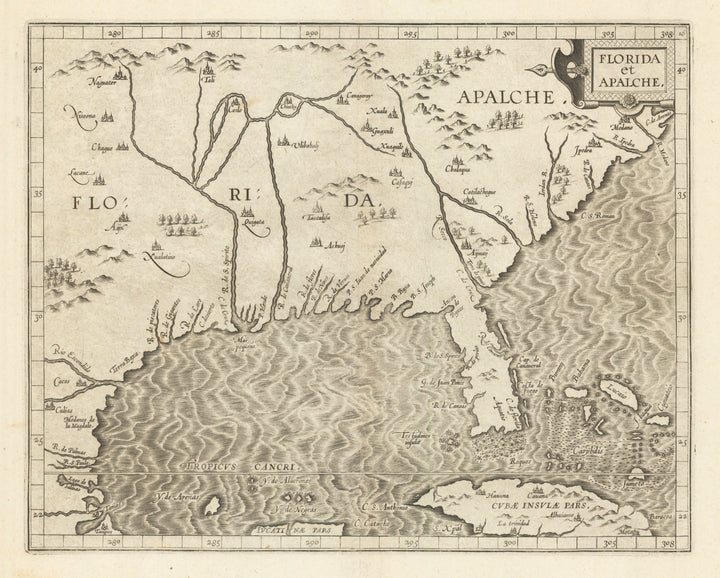 Florida et Apalche By: Cornelis van Wytfliet 1597 (Published) Leuven 9 x 12 inches - 16th Century Map of Florida, Authentic, Antique, Rare, Woodblock, Maps