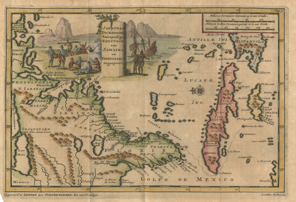 Antique Map East US Caribbean Van Der Aa hjbmapscom HJBMapscom