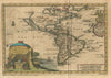 America, of Nieuw-Ontdekte Weereld... By: Van Der Aa Date: 1707 (Published) Leiden Size: 6.25 X 9.25 in - Antique, Map, North America, South America, Atlantic
