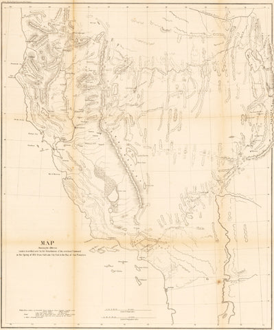 1855 Map Showing the different routes travelled by the Detachments of the overland Command in the Spring of  1855  from Salt Lake City, Utah to the Bay of San Francisco.