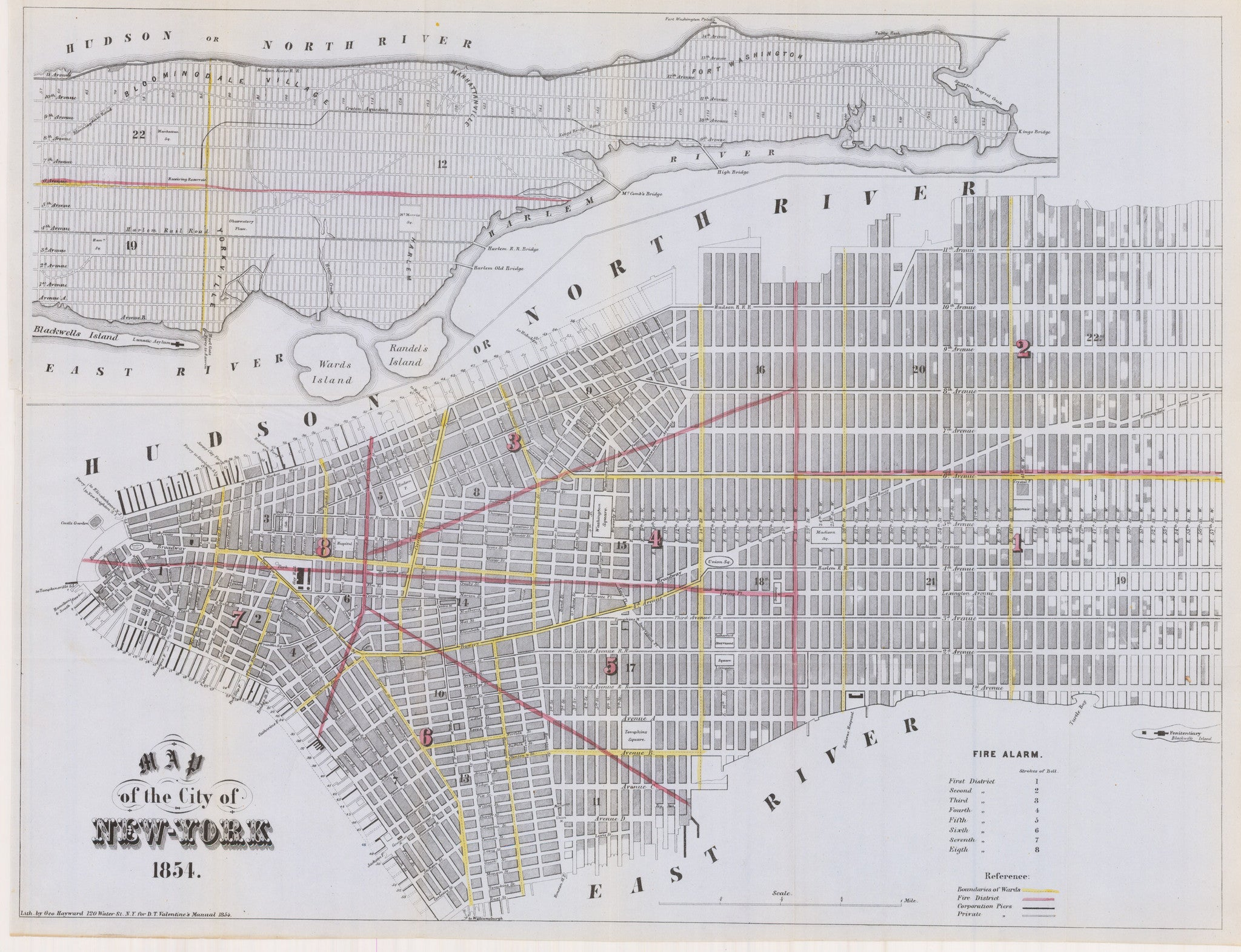 1854 Map of the City of New York