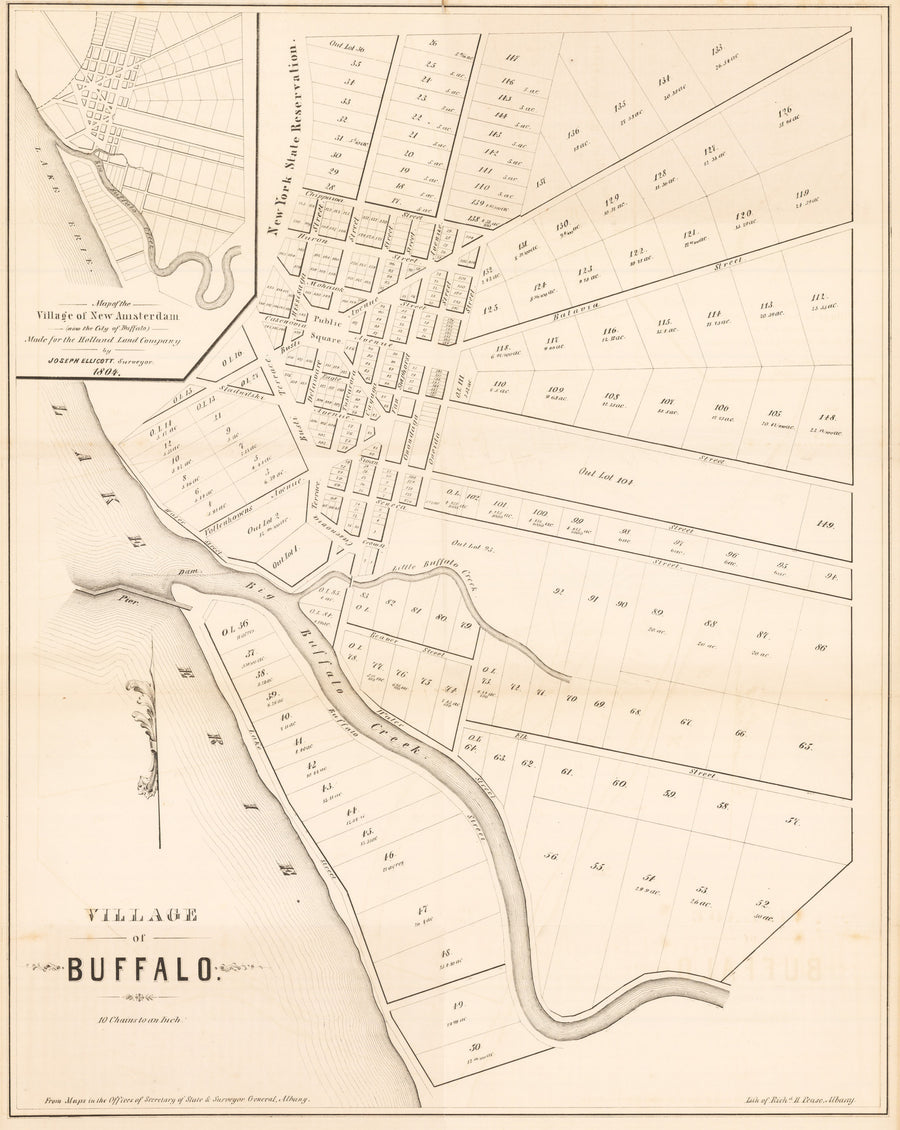 Village of Buffalo By: Ellicott Date: 1848 (Published) Albany Size: 20.0 x 16.5 inches - antique, map, Buffalo, New York, Ellicott