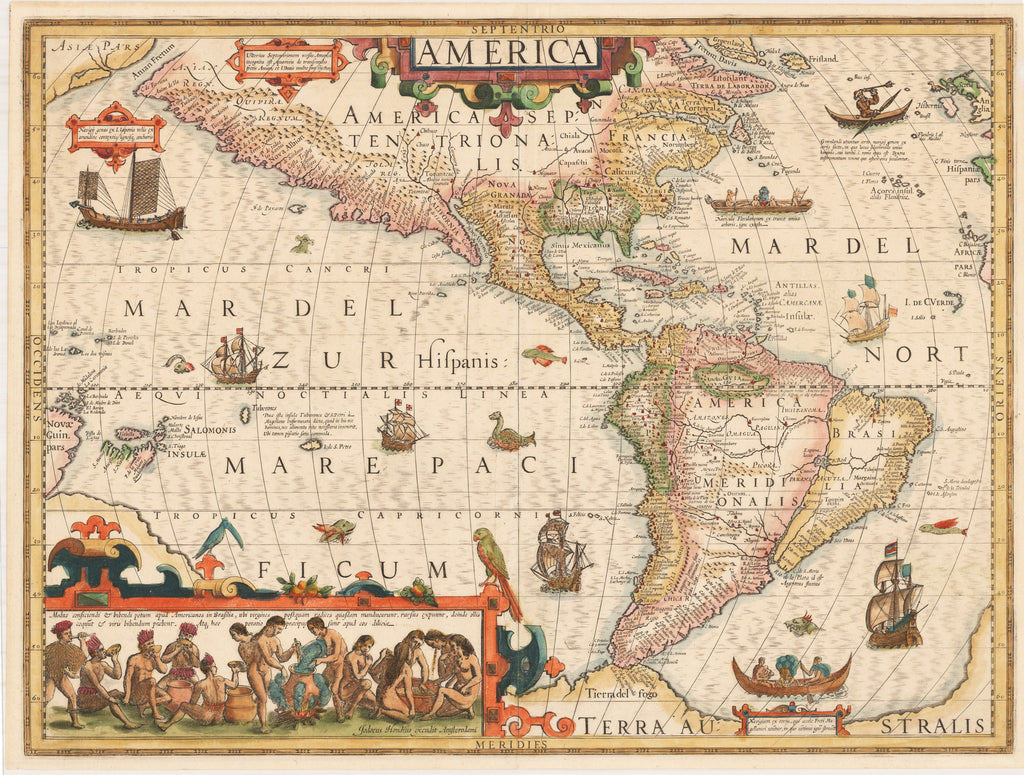 Septentrio America By: Hondius Date: 1609 (Published) Amsterdam Dimensions: 12.75 x 19.75 inches  - antique, map, western hemisphere, America, United States