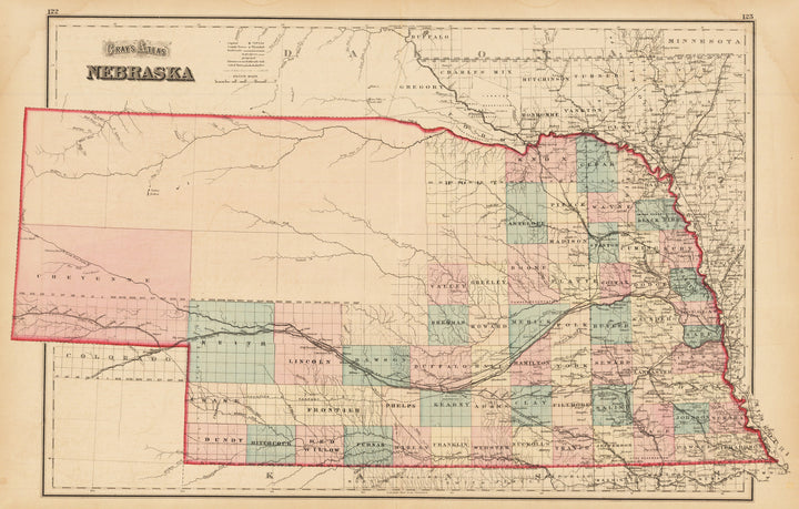 Gray's Atlas Nebraska  By: Gray Date: 1873 (Published) New York  Size: 23 x 16 inches - antique, map, nebraska, gray