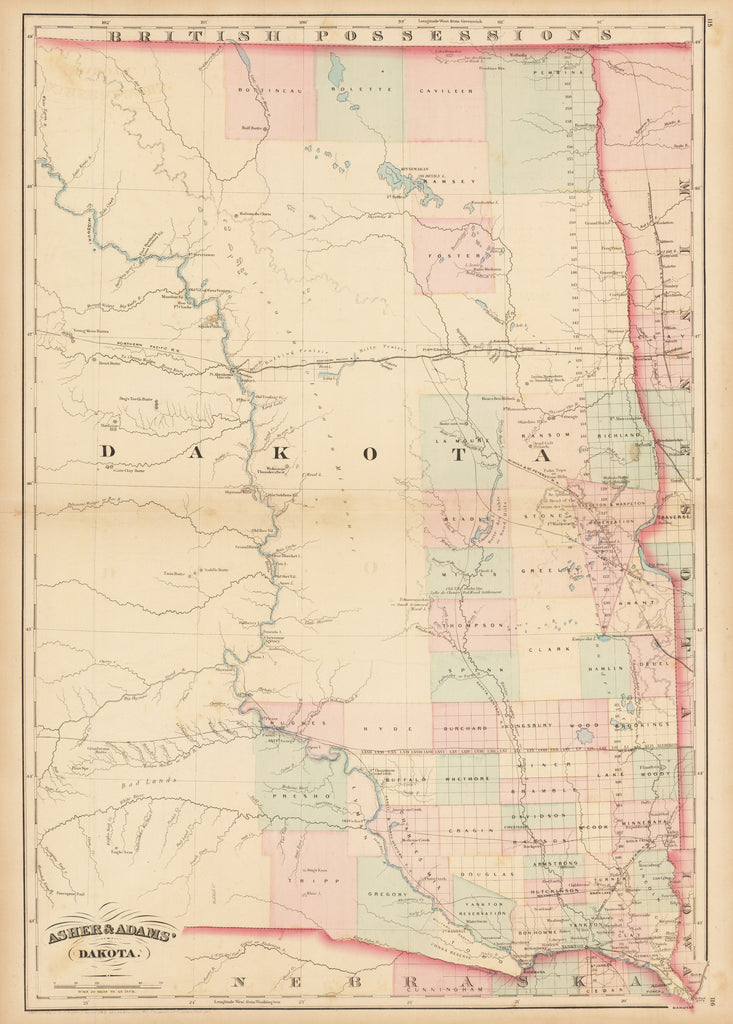 Asher & Adams' Dakota  By: Asher and Adams Date: 1874 (Published) New York Size: 23 x 16 in - antique, map, dakota, asher and adams, north dakota, south dakota