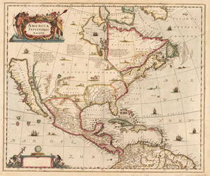 America Septentrionalis By: Jansson Date: 1636 (Published) Amsterdam Size: 22 x 18.5 inches - antique, map, United States, California, North America