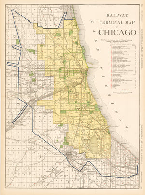1921 Railway Terminal Map of Chicago