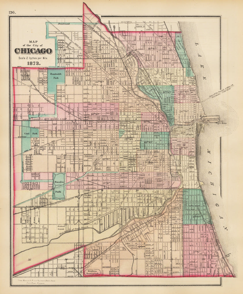 1873 Map of the City of Chicago