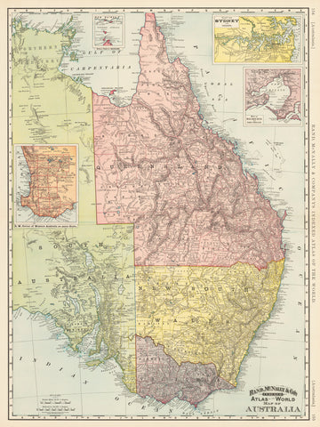 1892 Rand, McNally & Co's. Indexed Atlas of the World Map of Australia