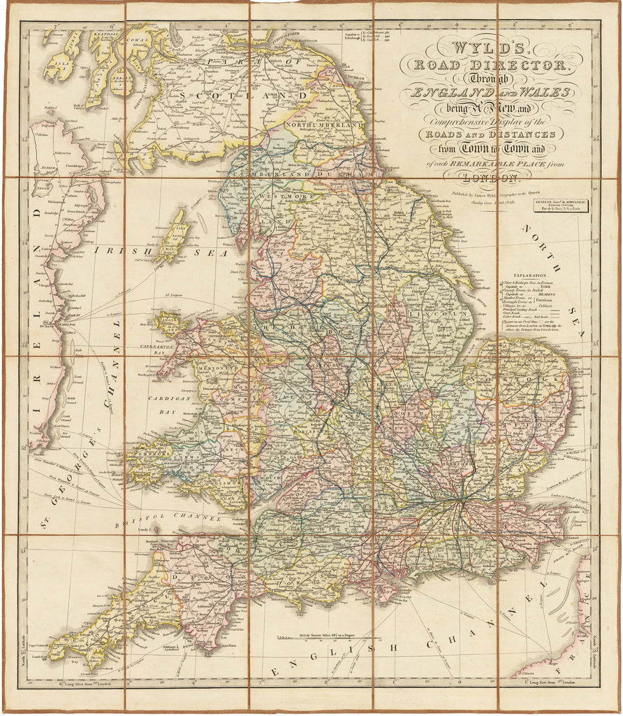 Road Map Of England And Wales With Towns.1838 Wyld S Road Director Through England And Wales Being A New And Comprehensive Display Of The Roads And Distances From Town To Town And Of Each
