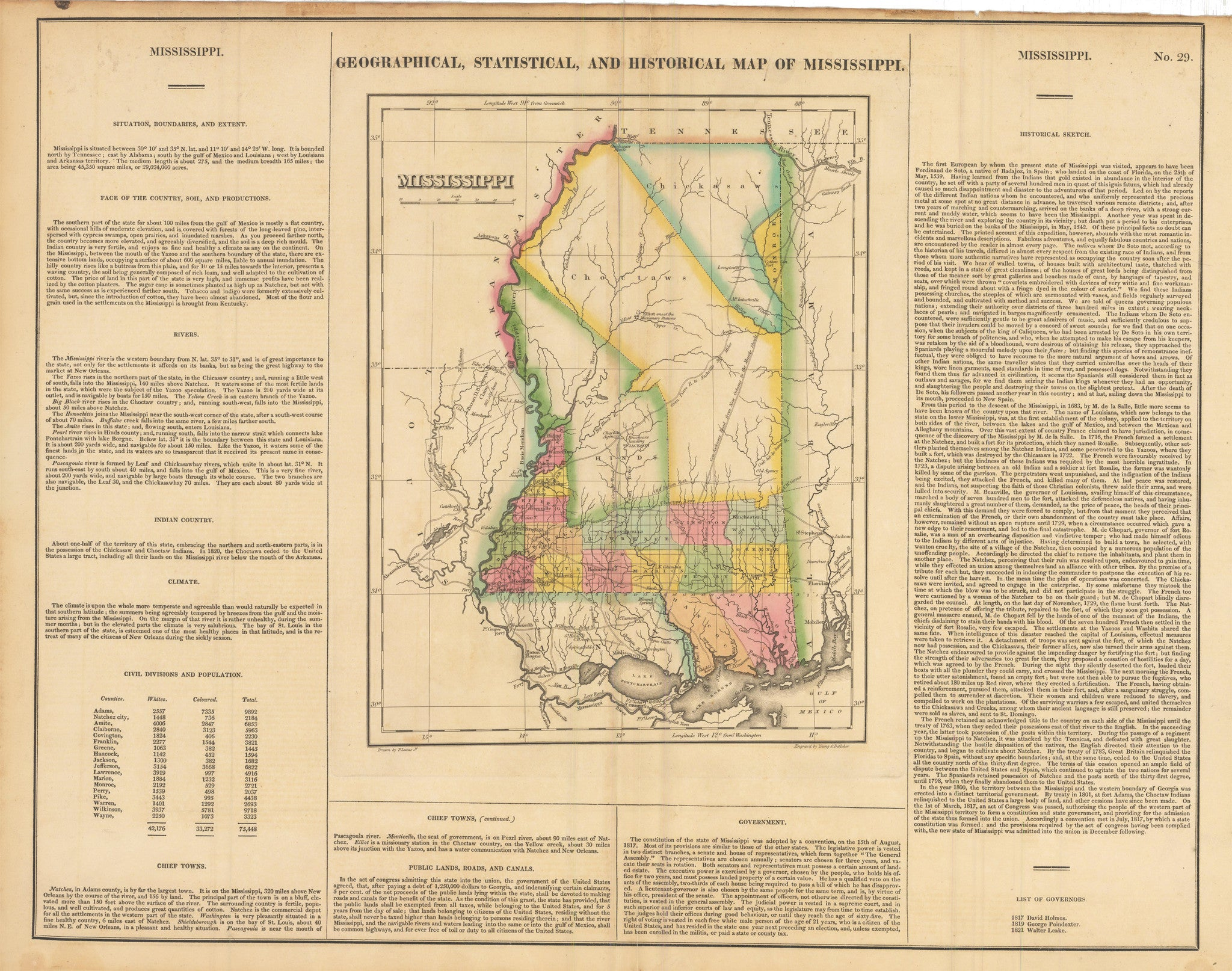 1822 Graphical, Statistical, and Historical Map of Mississippi