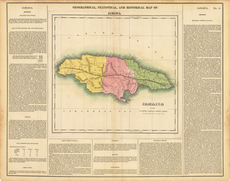 1822 Geographical, Statistical, and Historical Map of Jamaica