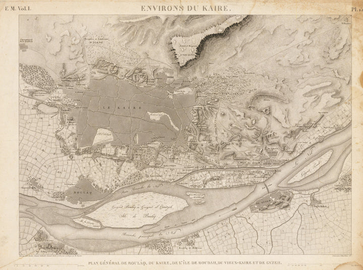 Environs du Kaire. By: Jean B.J. Fourier Date: 1823 (circa) Paris Dimension: 16.5 x 22.5 inches (47 cm x 62 cm) - antique, vintage, old, map of Egypt
