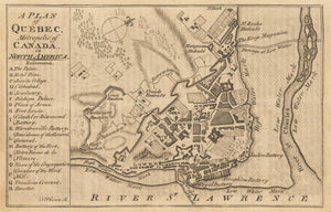 1759 A Plan of Quebec, Metropolis of Canada in North America.