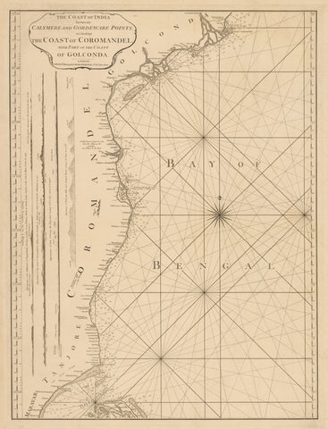 1794 The Coast of India between Calymere and Gordeware Points, including the Coast of Coromandel, with Part of the Coast of Golconda.