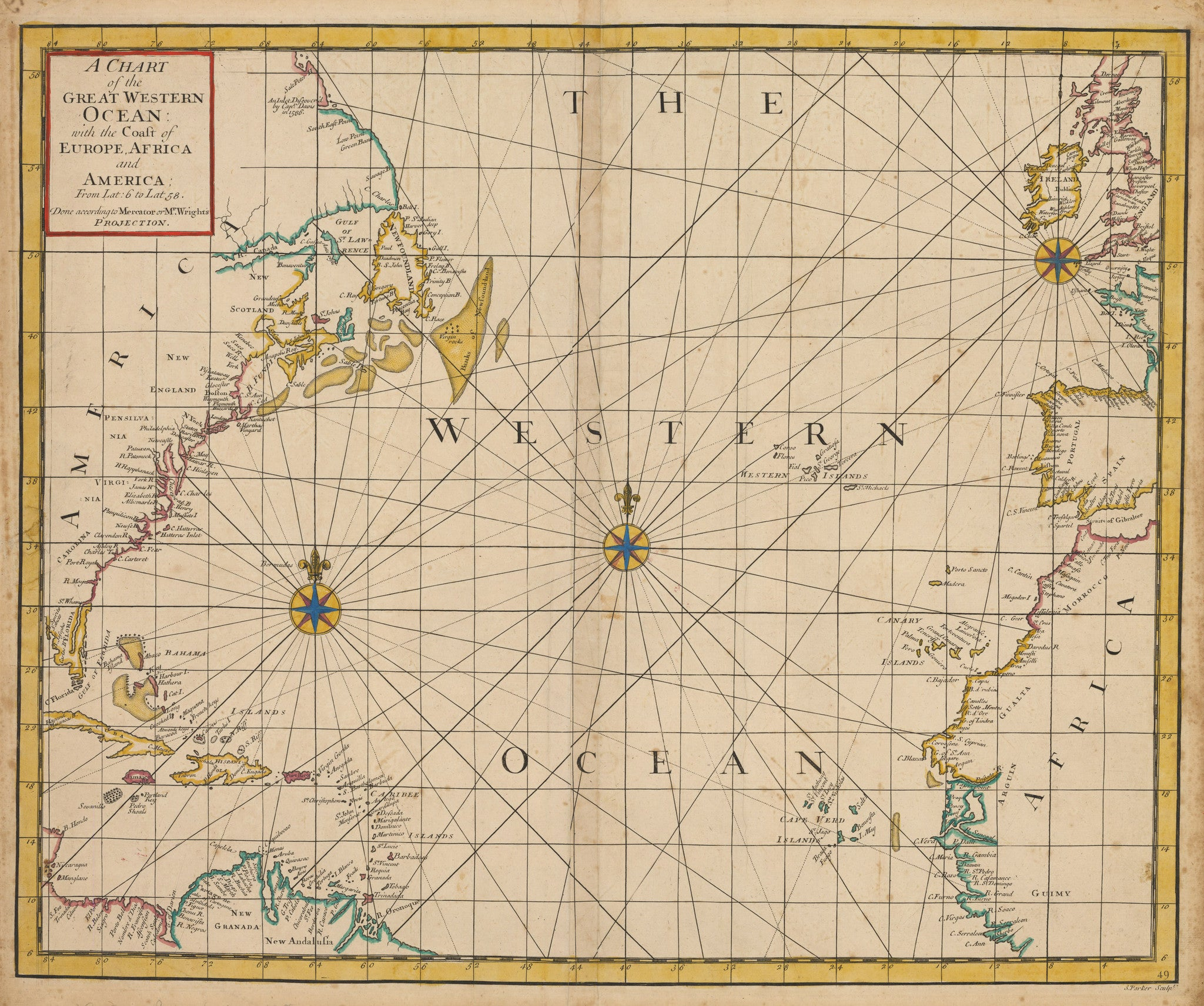 A Chart of the Great Western Ocean with the Coast of Europe, Africa and America From Lat:6 to Lat 58