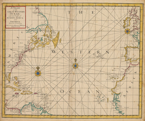 1728 A Chart of the Great Western Ocean with the Coast of Europe, Africa and America From Lat:6 to Lat 58