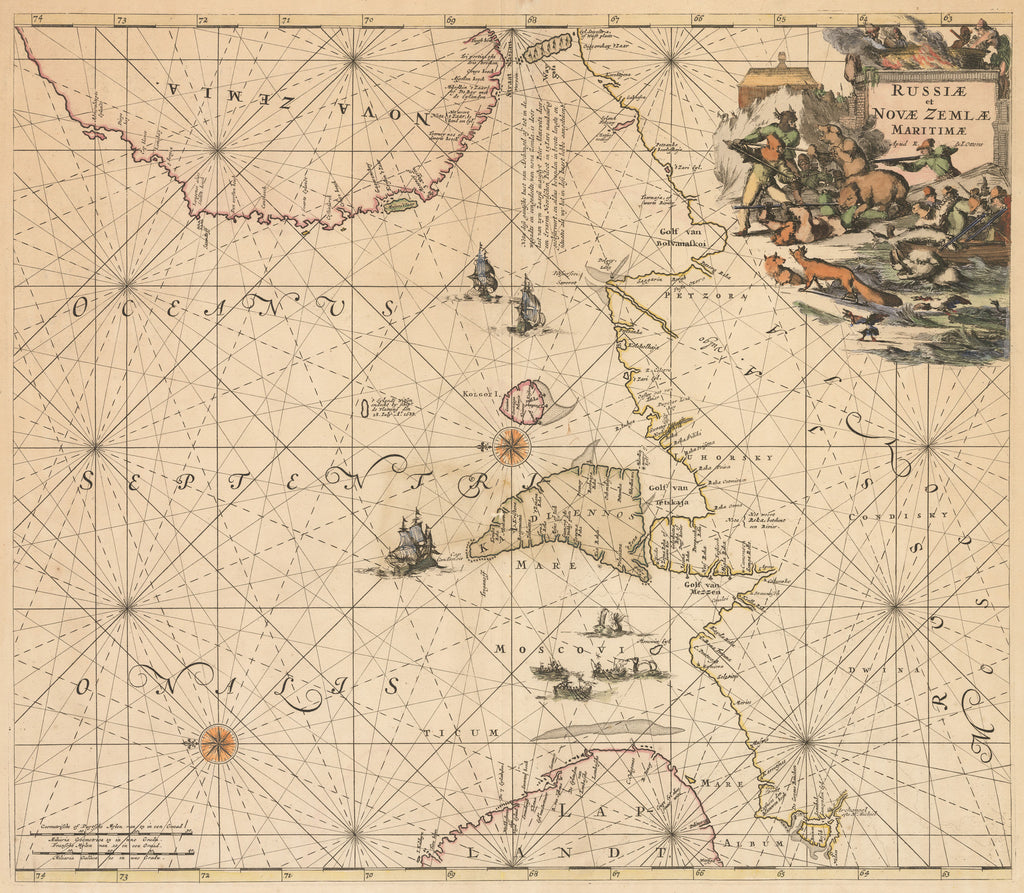 Antique Sea Chart of the Barents Sea and Northern Russia
