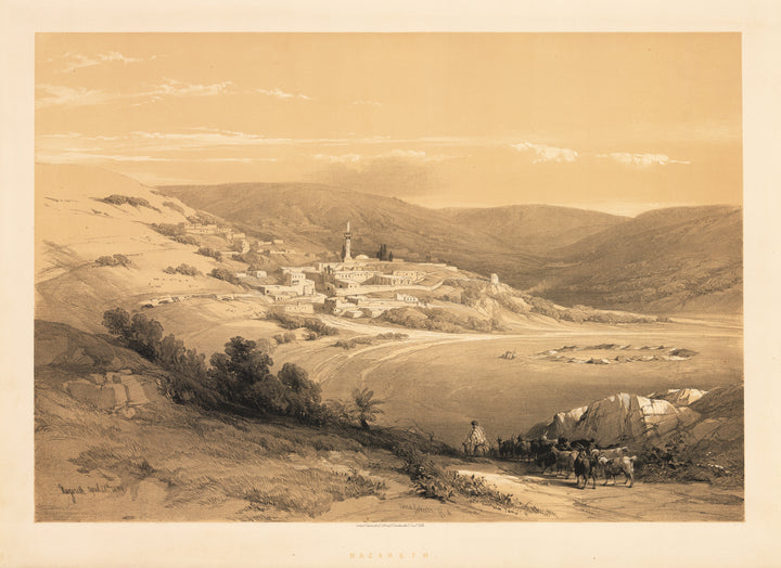 Antique Lithograph View of Nazareth by David Roberts 1844