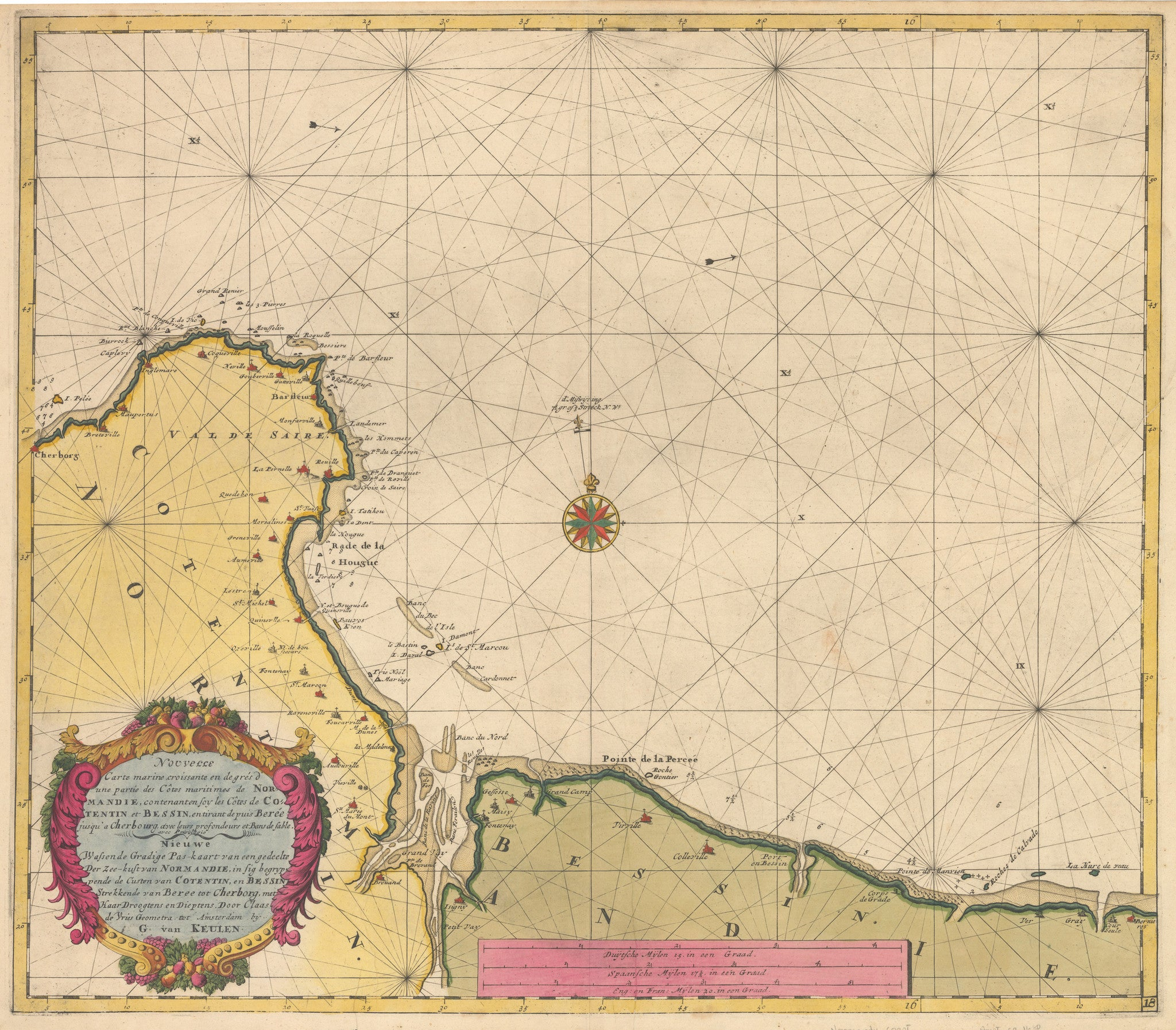 Antique Sea Chart of Normandy France by: Van Keulen 1680