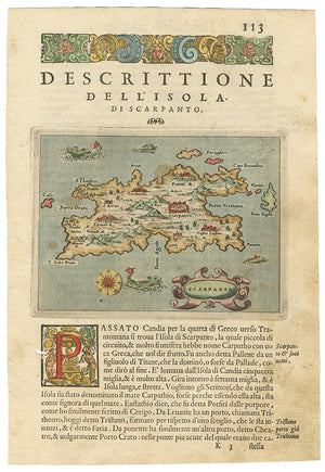 Antique Map of the Greek isle of Scarpanto 1574