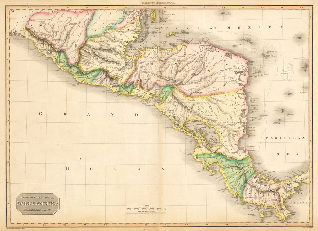 Antique Map Of North America.Antique Map Of Central America By Pinkerton 1811 Hjbmaps Com