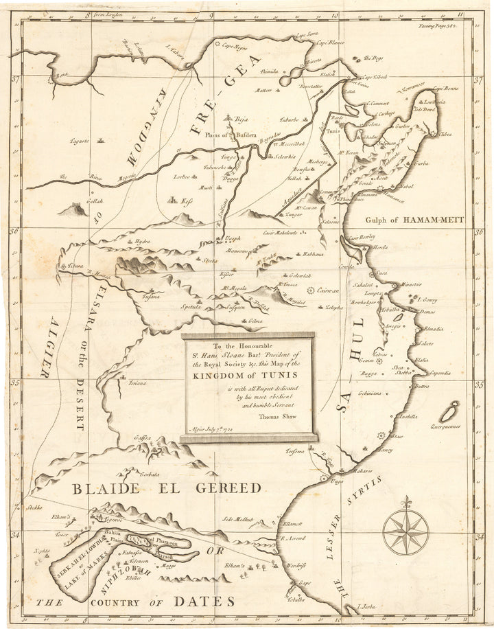 Antique Map Kingdom of Tunis By: Thomas Shaw Date: 1729