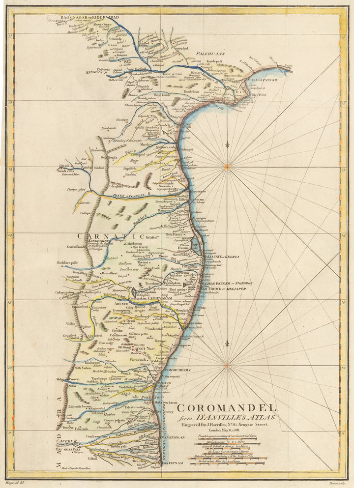 Antique Map of Coromandel from D'Anville's Atlas