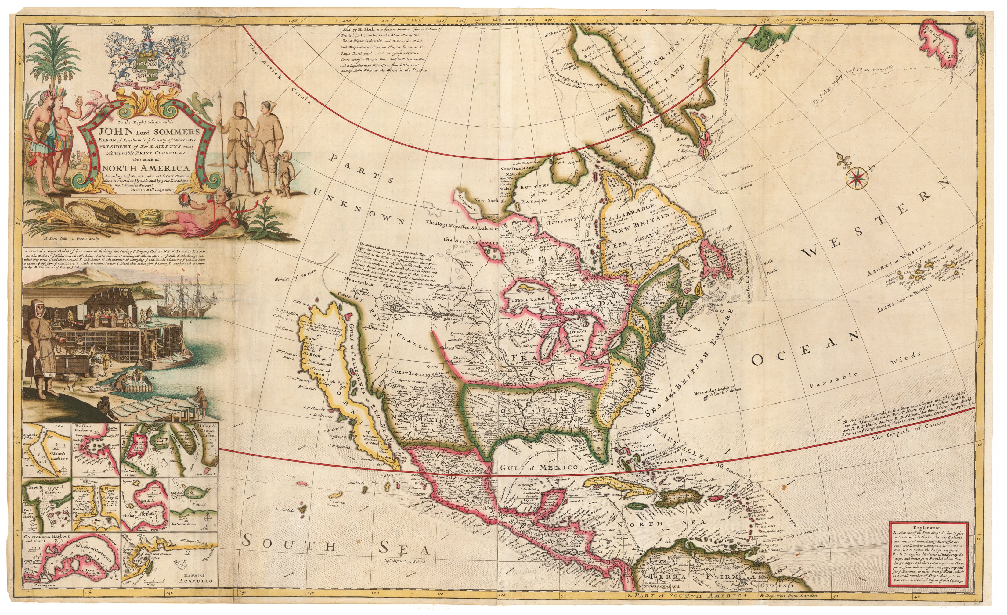 To the Right Honourable John Lord Sommers…This Map of North America According to Ye Newest and Most Exact Observations… Antique Map of North America by: Moll 1685
