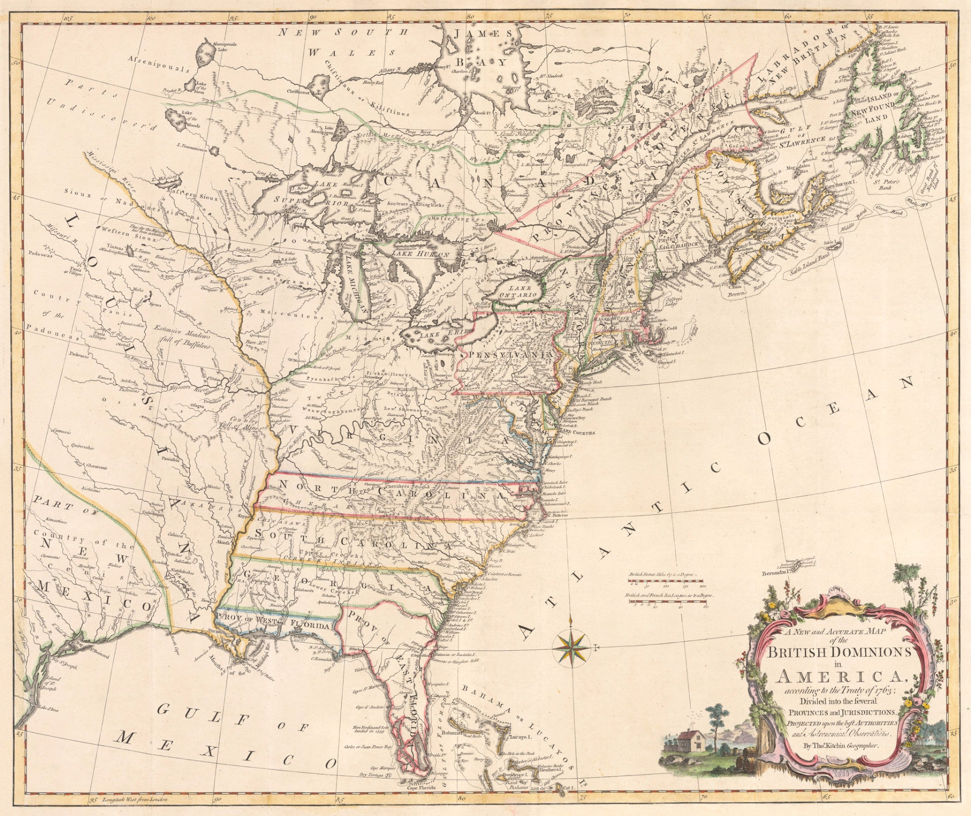 A New and Accurate Map of the British Dominions in America, according to the Treaty of 1763; Divided into the several Provinces and Jurisdictions. Projected upon the best Authorities and Astronomical Observations.
