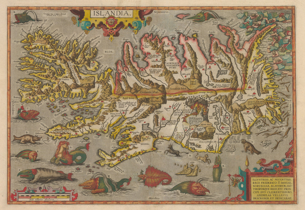 Islandia - Antique Map of Iceland by Abraham Ortelius 1585