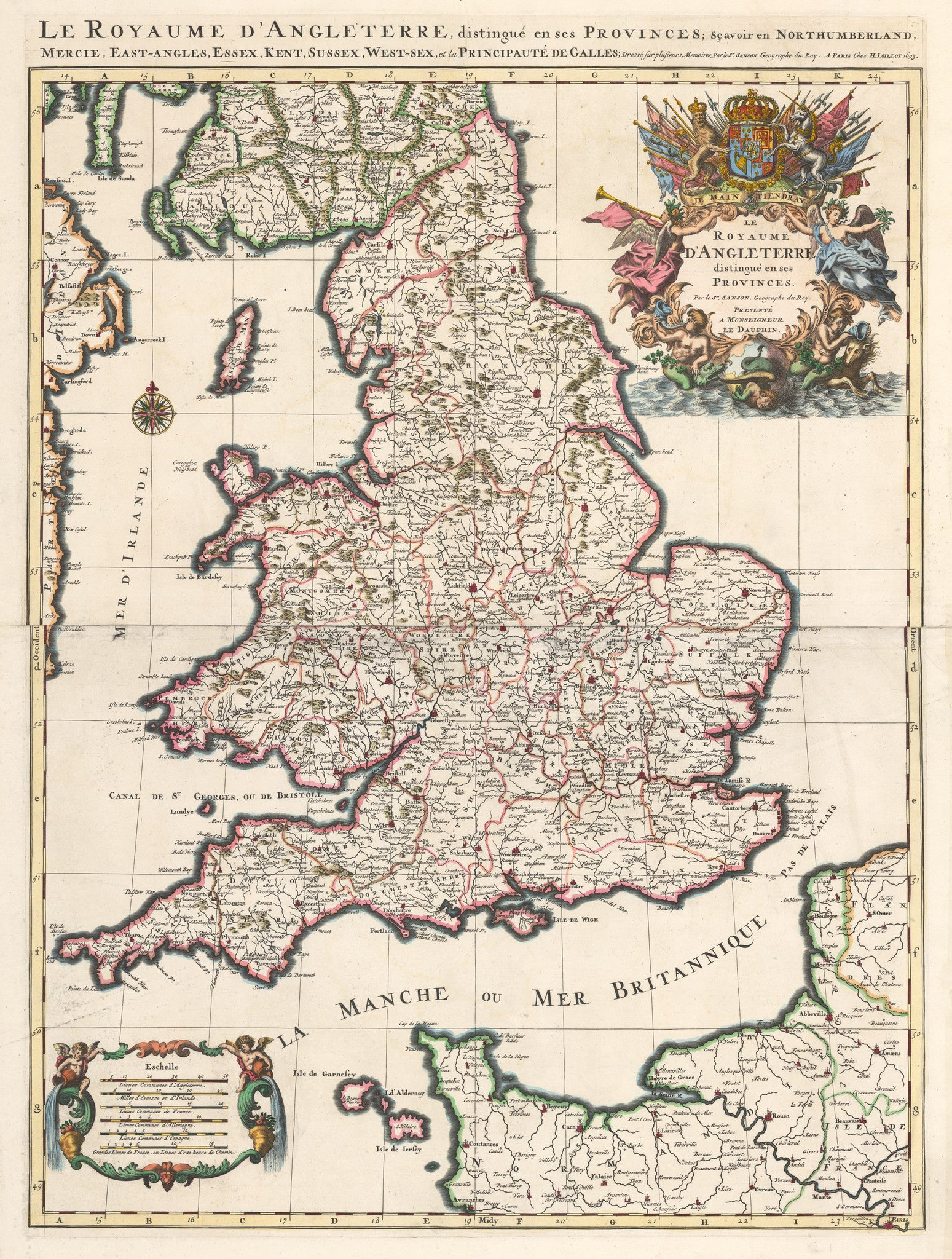 Le Royaume d'Angleterre, distingue enses Provinces; Scavoir en Northumberland, Mercie, East-Angles, Essex, Kent Sussex, West-sex, et la Principaute de Galles.