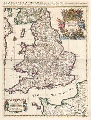 1693 Le Royaume d'Angleterre, distingue enses Provinces; Scavoir en Northumberland, Mercie, East-Angles, Essex, Kent Sussex, West-sex, et la Principaute de Galles.