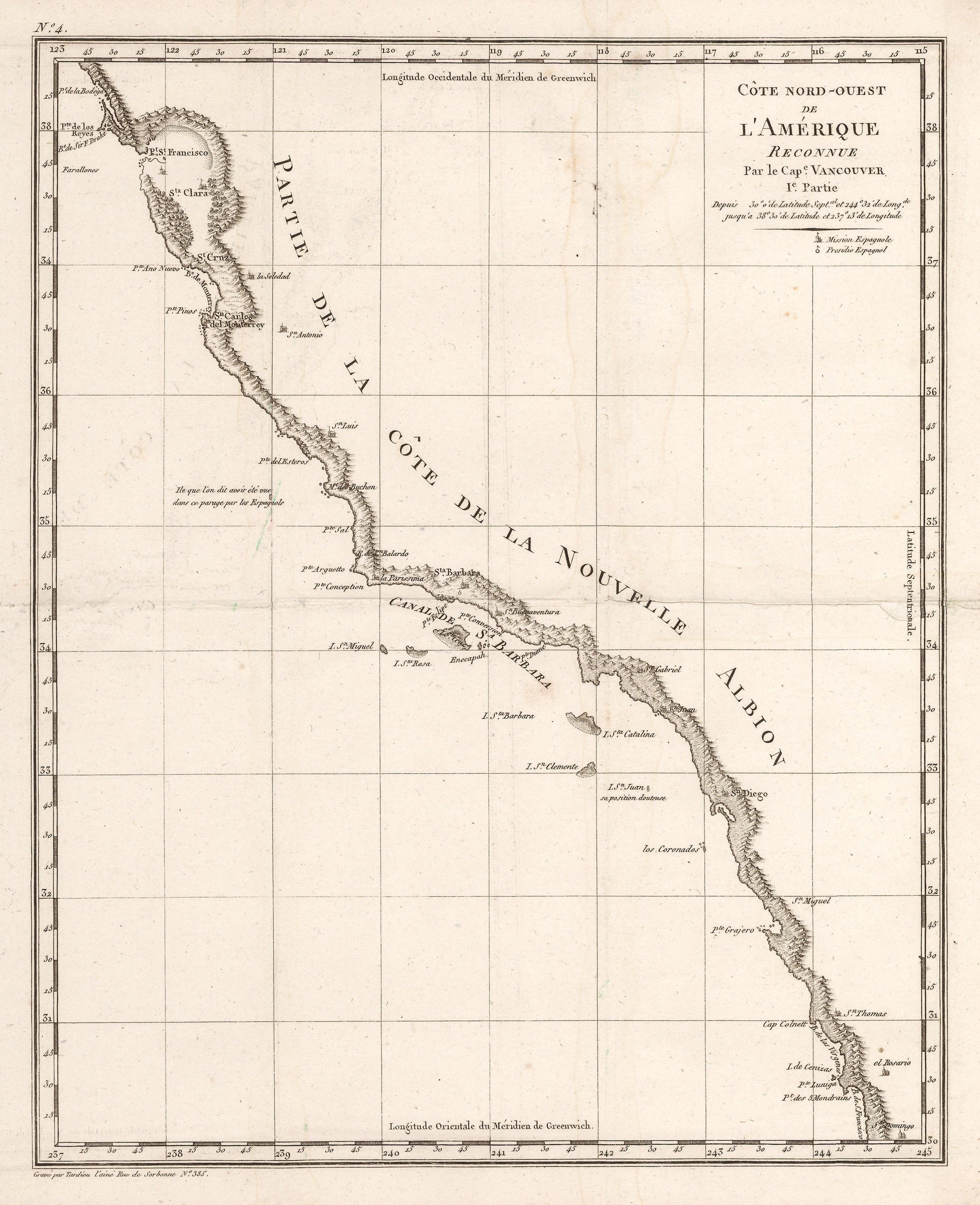 Antique Map of the California coast from Santa Domingo to San Francisco